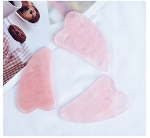 2019 Amazon Hot Sale best seller high quality natural Rose quartz Gua Sha Jade Board body massage Tools for health care