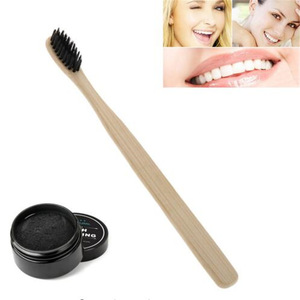 Activated Coconut Charcoal Powder Teeth Whitening Powder Bamboo Teeth Whitening Kit with Toothbrush for Oral Hygiene