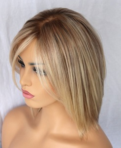 Hot Indian ombre Blonde Human Hair Short Bob Wig For white women