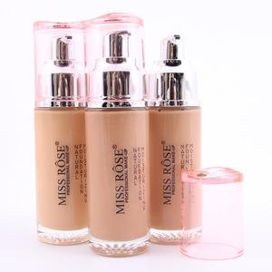 MISS ROSE Waterproof Long-lasting Makeup Smooth Liquid Foundation Concealer Cream Natural Moisturizing Foundation Glass Bottle