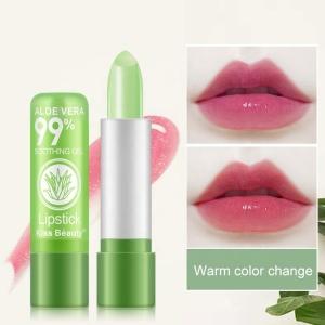 Natural Kiss Beauty Waterproof Moisturizing Lip Stick Lip Balm Color Changing Aloe Vera Lipstick  For Women
