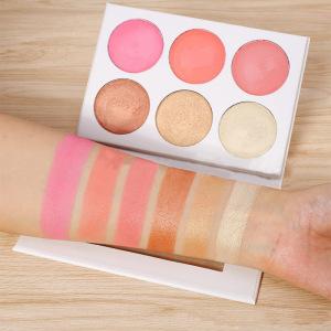 Private Label Custom Highlighter Cheek Blusher Powder Soft Delicate Makeup Blush 6 Colors Face Blush Palette