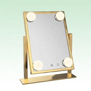 4 LED Lighted Makeup Vanity Hollywood Style Mirror Cosmetic Mirror With LED Dimmer Bulb Lights