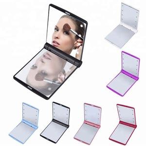 8 LED Lights Vanity Makeup Mirror Folding Portable Compact Pocket Mirror