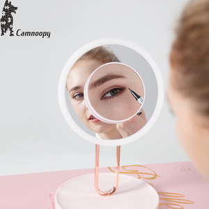 long battery life Hollywood style led lamp makeup mirror with 5X magnifier