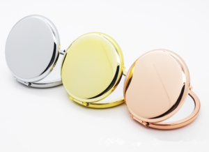 Personalized cosmetic mirror plain base style metal mirror for cosmetic pocket cosmetic mirror