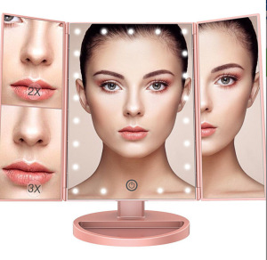 PRITECH OEM Customized 21 LED Light USB Charge Battery Powered Folding Cosmetic Makeup Mirror