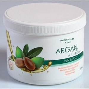 Hair Mask Argan and Olive Oil - 500 ml. Paraben Free. Private Label Available. Made in EU.
