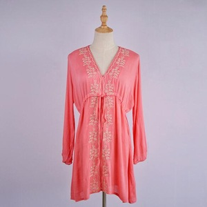 pink Powder Bathing Suit Cover Ups Swimsuit Up Coverup Sexy Beach New Cotton Embroidered Skirt