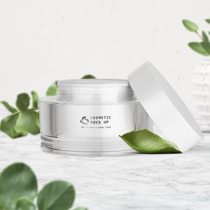 Cosmetic packaging skincare cream pot jar gloss white 30 g 50 g double wall empty acrylic cream jar
