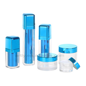 15ml 30ml 50ml 15g 50g 80g cosmetic packaging blue square plastic acrylic lotion bottles and cream jars