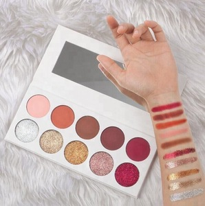 Private Label Make Up Cosmetics 10 Color Pressed Glitter Eyeshadow Palette with White Box