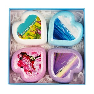 Bath Bombs Gift Set - 4 Heart-shaped Handmade Fizzies for Women - Perfect for Bubble & Spa Bath