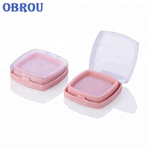 Plastic square shape empty powder eye shadow compact powder case with mirror