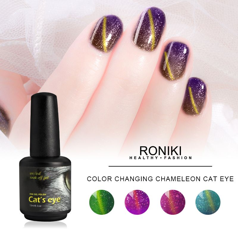 RONIKI Color Changing Chameleon Cat Eye Gel,Colorful Cat Eye Gel