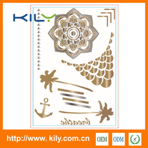 Gold foil flower sexy tattoo body sticker design temporary for Carnival makeup