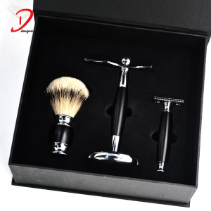 Luxury customized shave kit men shaving brush gifts set professional shaving brush kit
