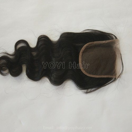 4x4 5x5 6x6 2x6 inch transparent/brown lace No tangle Remy brazilian virgin hair body wave lace closure