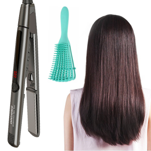 2021 new arrival black hair straightener titanium plate negative ion hair iron straightener with private label