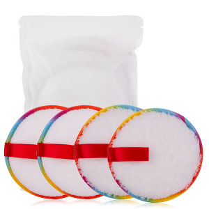 2021 New Arrival Makeup Remover Pads Rainbow Color High Quality Reusable Makeup Remover Microfiber Pads