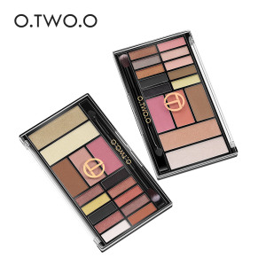 O.TWO.O New Palette Eyeshadow Blush Highlighter 3 in 1 Palette Glitter Blush Contour Palette 15 Shades With Brush