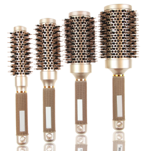 Masterlee Brand  Good Quality  Professional  curly Hair Brushes gold Color Ceramic Nano Bristle Hair Brush