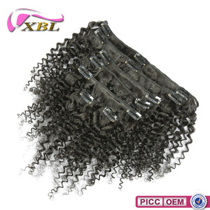 One Donor Human Hair Weaving XBL 7A Cambodian Kinky Curly Clip In Hair Extensions