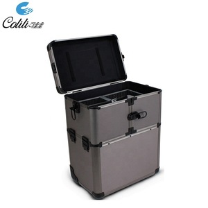 Professional Design Portable Wheeled Beauty Case Aluminum Makeup Tools Kit With Trolley