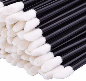 China flock tip lint free disposable lip brushes mascara eyelash brushes applicator