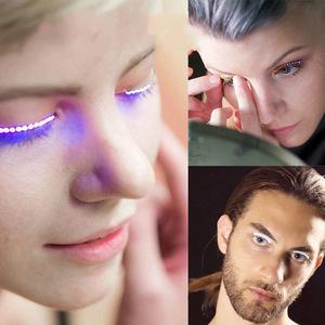 Waterproof Luminous LED Lashes False Eyelashes Colorful Electronic Eyelid False Eyelashes For Christmas Holiday Dancing Party