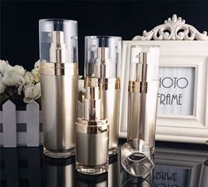 Lady cosmetics packaging 15g/30g/50ml/100ml acrylic luxury gold empty lotion bottle and cream jar/container