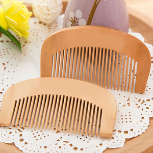 Wholesale Custom Logo Acceptable High Quality Peach Wooden Hair Comb
