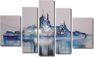 5 pieces panel home decor silver foil Distant hills group oil painting
