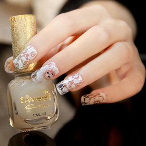 Beauty 3D White Lace Flower Full Cover Nail Art Sticker Wholesale Decals