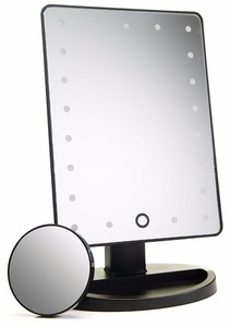 Natural Daylight Lighted Makeup Mirror / Vanity Mirror with Touch Screen Dimming, Detachable 10X Magnification Spot Mirror, Port