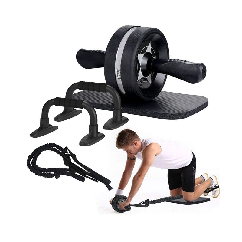 Men Women 6-in-1 Ab Roller Kit Handles Grips Abdominal Exercise Perfect Home Gym Equipment Kit with Best Price