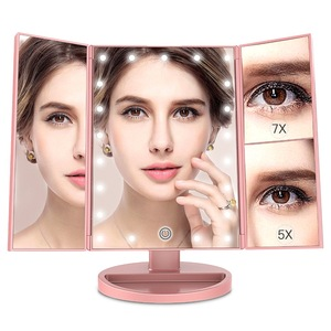1X/5X/7X Magnification Standing Desktop Cosmetic Trifold Vanity 21 Lighted Makeup Mirror LED