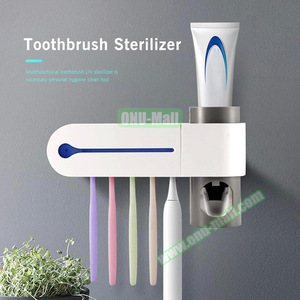Automatic Toothpaste Dispenser UV Light Ultraviolet Toothbrush Sterilizer Holder