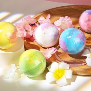 Custom Colorful Natural Salt Bath Ball Essential Oil Ease Relax Stress Body Shower Rainbow Bath Bombs