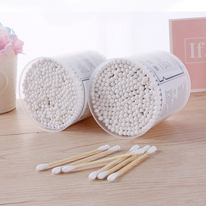 Lameila Brand wholesale 250 pcs round and pointy tip wooden cotton buds stick makeup cosmetic swab buds