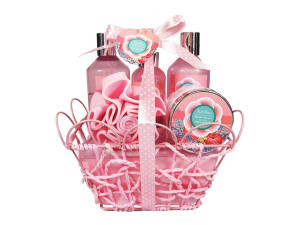 OEM/ ODM classical bathroom gift set with shower gel body lotion bath bombs in a wire basket