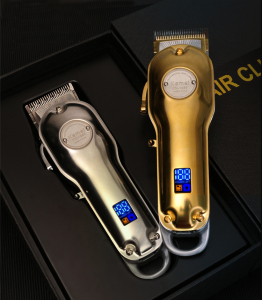 Silver Gold Kemei 1986 Hair Trimmer High Quality Professional Rechargeable Cordless LCD Haircut Machine