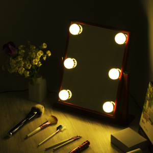 2021 6 LED lighted smart desktop beauty bulb vanity hollywood style makeup lighted mirror with led light