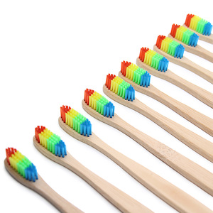 New Products Rainbow Color Soft Medium Bristle Bamboo Toothbrush With Private Label
