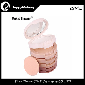 New 5 colors Kit Compact Puff Cake Mineral Face Powder Foundation Attached With A Fine Powder Puff