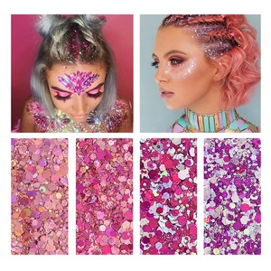 1pc Fix Gel with 4 Jars Hot Pink Nail Art Glitter Warm Colors Chunky Body Face Glitter for Hair or Eyeshadow