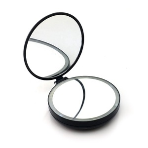 Foldable Plastic travel pocket Square Double Compact 8 Led Makeup Mirror