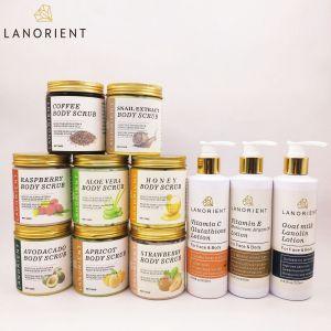 OEM custom vendors organic fruits shea butter coffee face body whitening  scrub