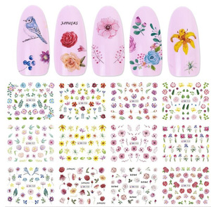 1 Big Sheet Water Sticker Nail Art Daisy Sakura Lavender Floral Dry Flower Decal Transfer Tattoo Charm Tips
