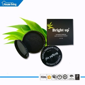 food grade GMP approved 50g PET jar organic black teeth whitening activated charcoal powder